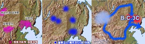 ▲ 청동기 유적지 및 몽골족들의 한반도로 이동. ⓒ김운회