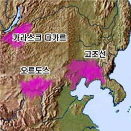 ▲ 청동기 유적 및 유물 집중 지역.(정수일, 2001 : 123 재구성) ⓒ김운회