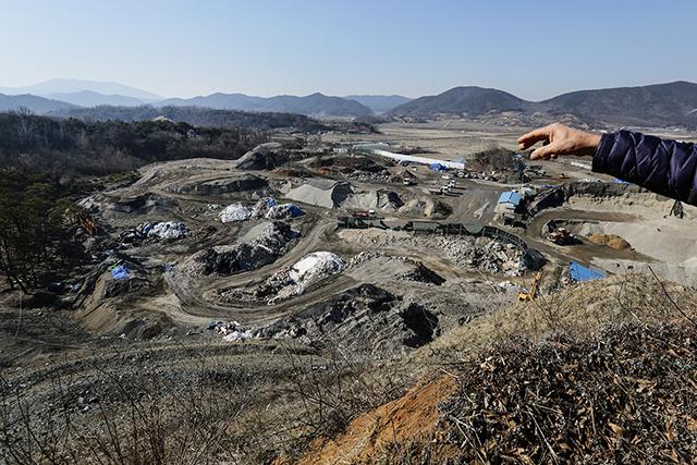 ▲ 석면폐광 자리에 들어선 건설 폐기물 중간처리장. ⓒ프레시안(최형락)